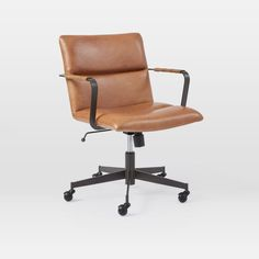 Our Cooper Mid-Century Leather Office Chair matches everyday comfort with iconic vintage style. With arm rests of hand-wrapped leather cording, its metal arms wrap around the back for a twist. Pair it with your favorite west elm desk or use i… Best Office Chair, Swivel Office Chair, Ergonomic Office Chair, Home Office Chairs, Home Office Furniture, Vintage Office Chair, Vintage Chairs, Furniture Stores, Cheap Furniture