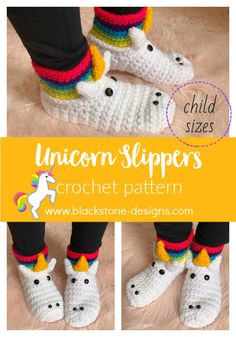 Unicorn Slippers Child Sizes crochet pattern from Blackstone Designs  #crochet #crochetpattern #unicorn #slippers #crochetslippers #crochetunicorn