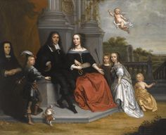 Victors, Jan - A PORTRAIT OF A FAMILY WITHIN A FORMAL GARDEN SETTING, THE HUSBAND AND WIFE SEATED BENEATH TWO FLUTED PILLARS