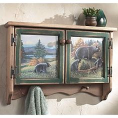 Black Bear Lodge Wall Cabinet A Black Forest Decor Exclusive This Wooden Black Bear Lodge Wall Cabinet Has A Weatherworn Style And Is Graced With A