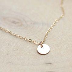 Tiny Gold Disc Necklace  Golden Circle Charm  by BijouxbyMeg, $25.00
