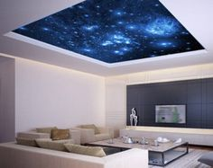 Ceiling STICKER MURAL space blue stars galaxy night decole poster 7ft 10 inches height x 10ft 11 inches wide