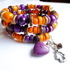 Tangerine & Purple Wooden Beaded Memory Wire Cuff with Purple Howlite Gemstone Heart, Smokey Quartz Bicone and Hamsa hand charm. Unique & One of a Kind by MissLadysmith