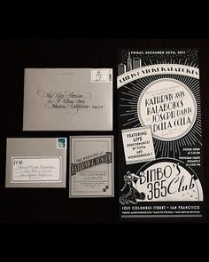Vintage music themed wedding invitatio. The artwork they used for the tables is pretty amazing too. By Eunice and Sabrina Moyle.