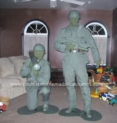Homemade Plastic Army Men Halloween Costumes: All of this costume is homemade from scratch including the Bazooka and boards for our feet. Everything had to be spray painted weapons, bullets etc. Allot
