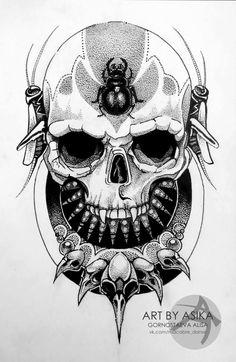 Skull Art by Alisa Gornostaeva ☠️ Lily Flower Tattoos, Flower Tattoo Designs, Tattoo Designs Men, Tattoo Sketches, Tattoo Drawings, Blackwork, Krishna Tattoo, Yogi Tattoo, Skull Tatto