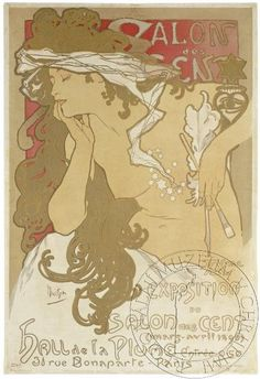 Mucha, Salon des Cent, 1896 Art Nouveau poster by Alphonse Mucha for an exhibition of his works in Paris - Stock Image Art Nouveau Poster, Poster Art, Kunst Poster, Poster Prints, Framed Prints, Old Posters, Vintage Posters, Vintage Art, French Vintage