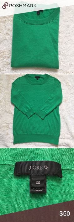J. CREW SWEATER!!!!!! This is a super cute kelly green quarter length sleeve sweater from J Crew!!!! It is so soft and is so cute for this winter!! J. Crew Sweaters Crew & Scoop Necks