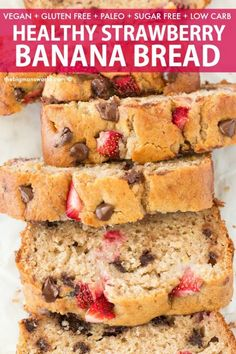 Easy Healthy Banana Bread Recipe with strawberries! Low carb, eggless and super … Easy Healthy Banana Bread Recipe with strawberries! Low carb, eggless and super moist on the inside! Paleo, Vegan, Gluten Free and Grain Free! Banana Bread Cake, Zucchini Banana Bread, Strawberry Banana Bread, Healthy Banana Bread, Diabetic Banana Bread Recipe Stevia, Easy Bread Recipes, Banana Bread Recipes, Banana Recipes Eggless, Paleo Bread Recipe Easy