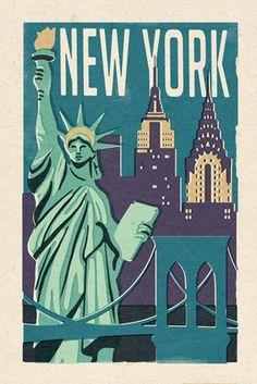 New York -  Woodblock - Lantern Press Poster