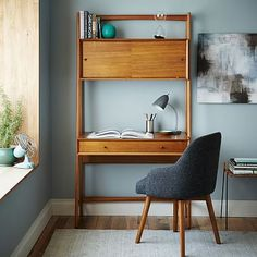 Mid-Century Wall Desk #westelm put printer up top and phone in drawer when not using?
