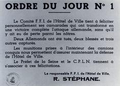 1944 08 21 Ordre Du Jour N°1 Du Responsable Ffi Tracts Et Affiches 1939-1945