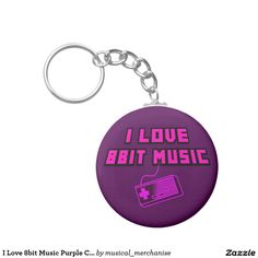 I Love 8bit Music Purple Controller Digital Art Basic Round Button Key Ring