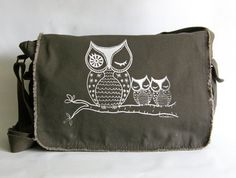 Owl Messenger Bag Hand Screen Printed Cotton Canvas-Khaki Green-Gift for Her-Under 40 Dollars