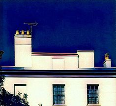 Blue sky contrasts, white, house, windows, rooftop, building, architecture, drawing, illustration, digital art
