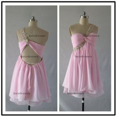 Prom Dresses Custom One Shoulder Short Sexy Pink  by Katedresses, $88.00