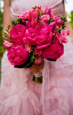 Electric Hot Pink wedding flower bouquet, bridal bouquet, wedding flowers, add pic source on comment and we will update it. www.myfloweraffair.com can create this beautiful wedding flower look.