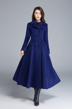 Blue coat wool coat pleated coat lapel coat flare coat