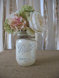 6 pearlized ivory mason jars