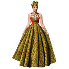 Image of Womens African Dress Dashikis Print Ball Gown Party Dress, Maxi and Strapless Women gown with Free Headwear Plus - without Necklace African Dresses For Women, African Attire, African Fashion Dresses, African Women, Ankara Fashion, African Outfits, African Wear, Fashion Outfits, African Beauty