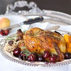 Cornish Game Hen with dried fruit, rice, and mushroom stuffing - 2stews.com