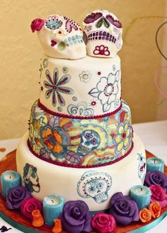 Wedding Cakes with skulls | sugar skull wedding cake | DnB Wedding