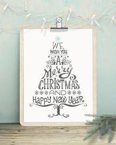 typografische kerst art-print met een kerstboom van woorden in zwart-wit