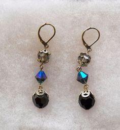 $3.00 - Silvertone & Black Stone/Glass Earrings (12316-66 ER) fashion, Jewelry #Unknown #DropDangle