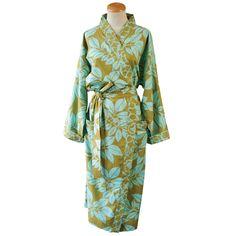 BaliZen Collection : Kimono River Olive and Aqua M/L Fair trade luxury