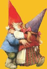 Hugs and kisses abound. Woodland Creatures, Magical Creatures, Fantasy Creatures, Baumgarten, Humanoid Creatures, Legends And Myths, Christmas Gnome, Gnome Garden, Flower Fairies