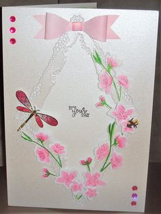 Today I've made a pretty card with stamped flowers from a magazine and coloured them with Tri-blend marker pens. The window type frame is elevated on foam pads, so the sentiment sits neatly inside. Window Types, Marker Pen, Pretty Cards, I Card, Pens, Markers, Stamp, Magazine, Day