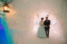 One of our favourite weddings. Lace & Co. Real Bride Amy wore a bespoke duck egg blue Mooshki ballgown for her wedding in Lapland www.laceandco.com