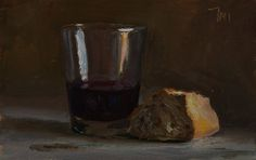 daily painting titled Bread and wine - click for enlargement