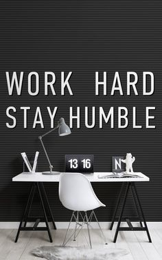Female empowerment has been a hot topic in culture and design, so Murals Wallpaper has designed a bespoke motivational Girl Boss Collection in celebration. Boss Wallpaper, Wallpaper Decor, Amazing Wallpaper, Work Hard Stay Humble, Monochromatic Color Scheme, Motivational Wallpaper, Black And White Wallpaper, Office Interiors, Female Empowerment