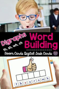 Need digital phonics activities? Try these word building digraph Boom Cards! Great digital phonics practice for first grade or second grade students! Ideal for distance learning! Teaching Vocabulary, Teaching Phonics, Phonics Activities, Fun Learning, Learning Activities, Word Work Games, Ch Words, Digital Word, Teaching Second Grade
