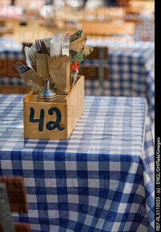 Cutlery in wooden box on typical German beer garden table, Munich, Germany http://www.oktoberfesthaus.com