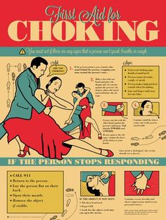first aid choking poster that looks like dance instructions