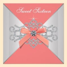 Elegant coral with diamonds and bow design on a sweet 16 birthday party invitation