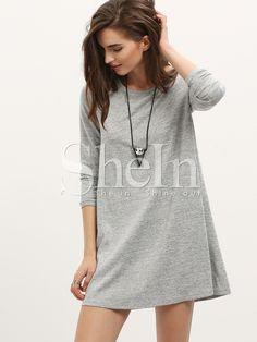 Kleid Langarm im Casual Stil-grau- German SheIn(Sheinside)