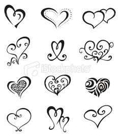 Hearts – Tattoo Set Royalty Free Stock Vector Art Illustration