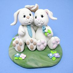 *POLYMER CLAY ~ Bunnies wedding cake topper by Clayin' Around, via Flickr