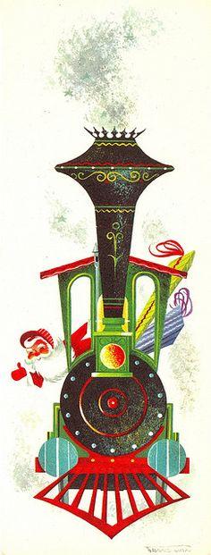 Retro Santa Train Christmas Card
