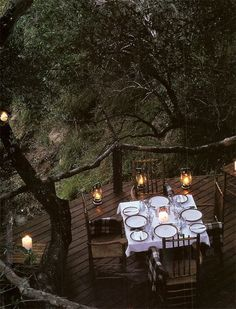 Dining on the deck, surrounded by trees