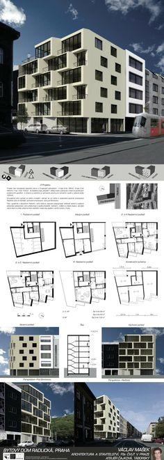 Studentský projekt. LS 2013/2014. FSv ČVUT v Praze. Praha, Ideas Para, Skyscraper, Multi Story Building, Floor Plans, Architecture, House, Buildings, Arquitetura