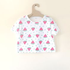 Watermelon Illustrated Print Cropped T-shirt