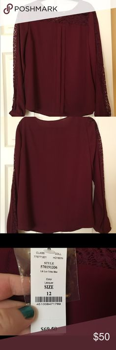 NWT-White House/Black Market Blouse New with tags, Beautiful size 12, White House/Black Market blouse. It is a beautiful maroon color with lace detail around the top and down the sleeve. White House Black Market Tops Blouses