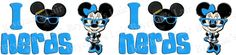 Minnie Mouse Turquoise I Love Nerds USA Made Grosgrain Ribbon - product image