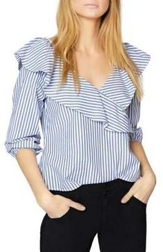 Image 1 of Sanctuary Secret Garden Striped Ruffled Top Stripped Shirt, Mode Chic, Blouse And Skirt, Beautiful Blouses, Off Shoulder Tops, Cotton Blouses, Casual Tops, Look Fashion, Blouse Designs