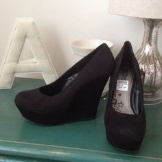 Suede black wedges. Suede 5in. black wedges. Payless Shoes Wedges