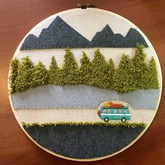 Camper Decor / Volkswagen VW Bus / Camper Embroidery Hoop Art for Wall - Aqua Teal Turquoise - Camper Van Decor - Mountains trees landscape,Camper Decor / Volkswagen VW Bus / Camper Embroidery Hoop Art Crewel Embroidery Kits, Hand Embroidery Designs, Hungarian Embroidery, Embroidery Hoops, Embroidery Jewelry, Punch Needle Patterns, Vw Bus, Bus Camper, Decoration